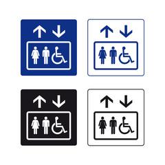 Lift elevator sign set