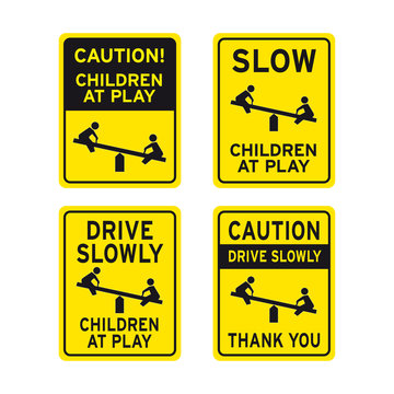 Caution children kids at play sign set