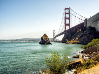Golden Gate Bridge, view from the shore - San Francisco, California, CA, USA
