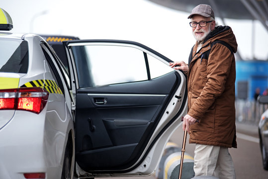 Portrait of positive bearded old man in glasses is going to sit into the car. He is opening door of taxi and looking at camera with smile. Copy space in the right side