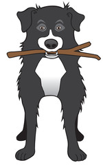 A happy cartoon dog with a stick in his mouth is ready to play