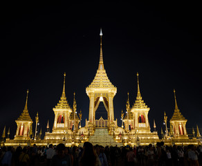 Bangkok, Thailand - December 22, 2017 : The Royal Crematorium for King Bhumibol Adulyadej at Sanam Luang prepared to be used as The royal funeral Cremation Ceremony Bangkok Thailand Pra May Ru Maat