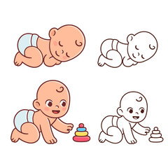 Cute baby illustration set