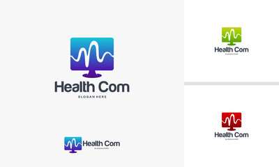 Health Computer logo designs concept, Computer and Pulse logo designs template
