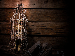 Still life art image of skeleton in white cage with metal chain and old woods on wooden table and background in dim light for Halloween night