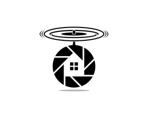 Technology Flying Surveillance Lens Cameras Photography with Propeller and Windows House Modern Logo Symbol