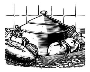 Italian food woodcut