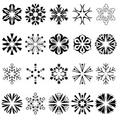 Mandalas geometric circular or snowflake ornament vector set on white background