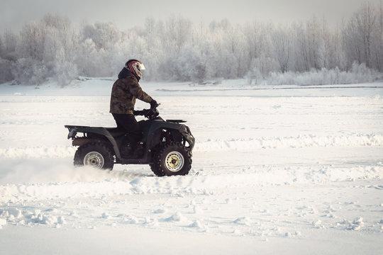 Winter fun on the ATV.