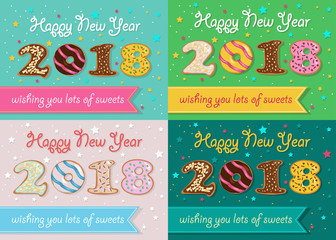 New Years Retro Cards with Sweet Donuts