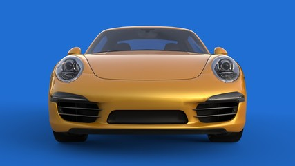 Sports car. The image of a sports yellow car on a blue background. 3d illustration.