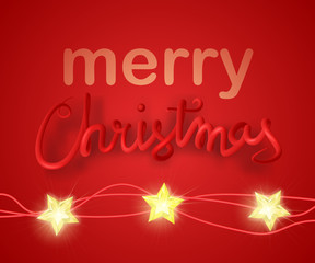 Merry Christmas greeting card vector illustration. 3d red lettering with christmas lights.