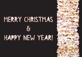 Golden glitter foil text on black background. Merry Christmas and Happy New Year lettering for invitation and greeting card, prints and posters. Hand drawn inscription, calligraphic design. Vector