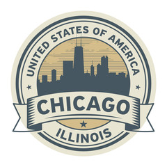 Stamp or label with name of Illinois, Chicago
