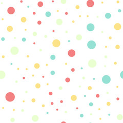 Colorful polka dots seamless pattern on white 16 background. Dazzling classic colorful polka dots textile pattern. Seamless scattered confetti fall chaotic decor. Abstract vector illustration.