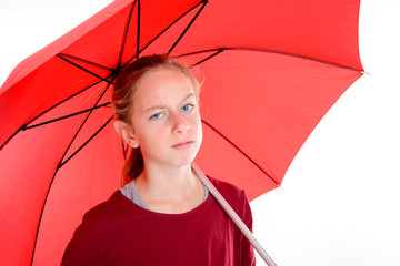blond girl with red umbrella