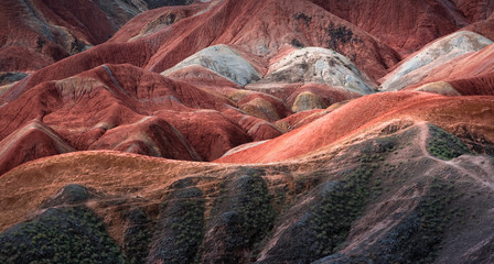 panorama of rainbow-mountain in Zhangye Danxia Landform Geological Park in China