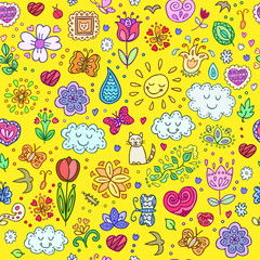 Spring doodles set. Endless texture for wallpaper, fill,  web page background, surface texture.