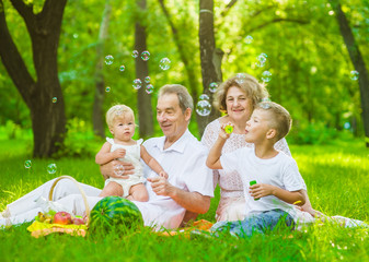 Happy family picnic. Grandmother and grandfather blow soap bubbles along with grandchildren on summer grass