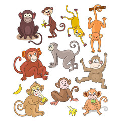Set of funny monkeys. Texture for wallpaper, fills, web page background.