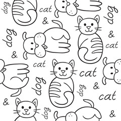 Seamless pattern with cat and dog (puppy and kitten). Texture for wallpaper, fills, web page background.