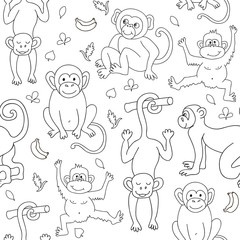 Seamless pattern with monkeys, bananas and leaves. Endless texture for wallpaper, fill,  web page background, surface texture.