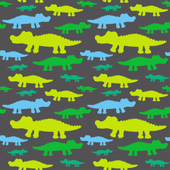 Cartoon cute crocodiles seamless vector pattern. Endless texture for wallpaper, fill,  web page background, surface texture.