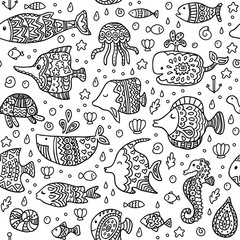 Seamless pattern with sea creatures. Texture for wallpaper, fills, web page background.