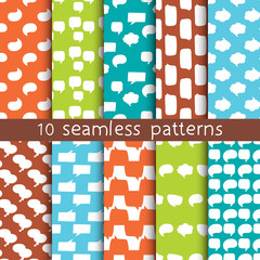 10 patterns with speech bubbles, Pattern swatches. Can be used for textile, website background, book cover, packaging.