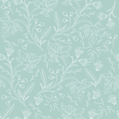 Hand drawn floral seamless pattern. Vintage background.
