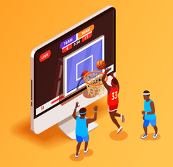 Basketball Online Isometric Concept