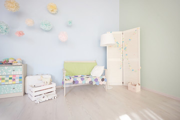 Interior of playing room. the interior is bright rooms for children. view all