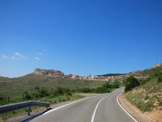 Carretera a Gúdar Pueblo de Teruel, en la Comunidad Autónoma de Aragón, España