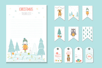 Christmas holiday to do lists, planner, cute notes with winter vector illustrations.