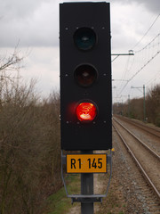 Red light sign on a track at Gouda station