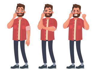Man is talking on the phone with different emotions. Cheerful, thoughtful, angry. Vector illustration