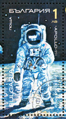 Ukraine - circa 2017: A postage stamp printed in Bulgaria shows picture Neil Armstrong from