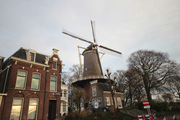 Historical windmill 't slot in Gouda along the Hollandse IJssel River