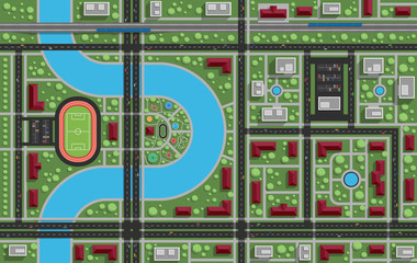 Residential area with a park, stadium, river, railway. View from above. Vector illustration.