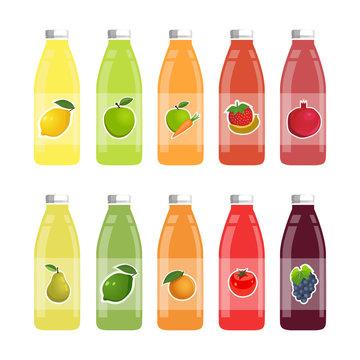 Set of bottles of fruit and vegetable juice on a white background. Vector illustration