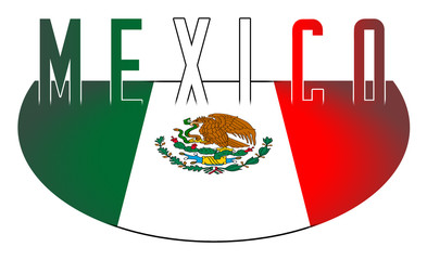Illustration logo flag of Mexico official symbols isolated