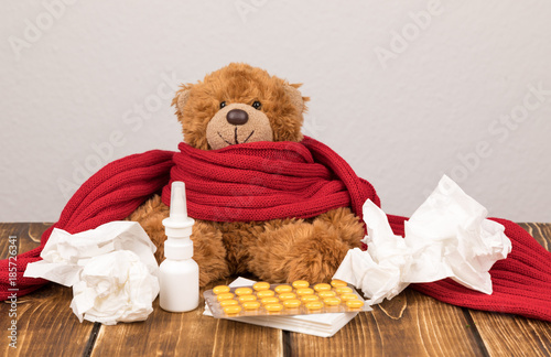 Teddy bear cold ill stock photo and royalty free images on fotolia teddy bear cold ill altavistaventures Images
