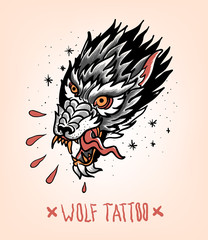 Head of Tearing Wolf in the style of Traditional tattoo. Old school.