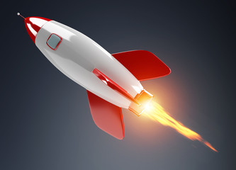 Isolated modern digital rocket 3D rendering