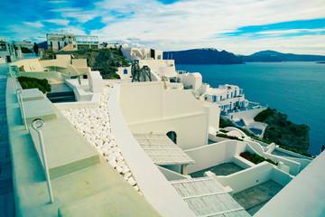 Architecture in town Oia. Santorini Greece