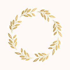 Gold floral round frame. Vector. Isolated.