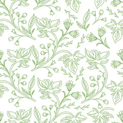 Floral branches seamless pattern. Scandinavian background.