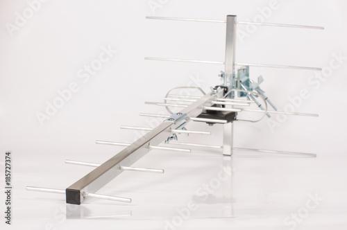 Yagi Uda antenna for UHF tv isolated on the white background