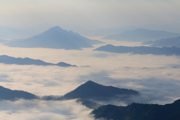 morning mountain fog Thailand