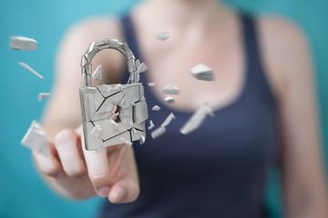 Businesswoman hacking in broken padlock security 3D rendering